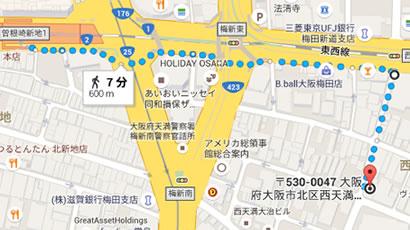 JR 東西線北新地駅からお越しの場合